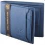 Hidelink Men Casual Blue Genuine Leather RFID Wallet (6 Card Slots)